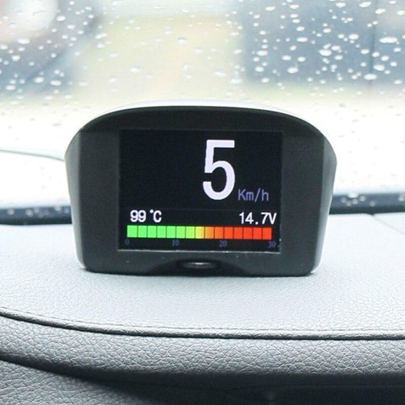 Car OBD HUD Overspeed Warning System Windshield Voltage Alarm Temperature Meter GK99