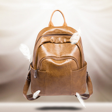women backpacks for student Oil leather fashion simple backpack Girls Four Seasons Backpack Women's Bags Vintage School Bags