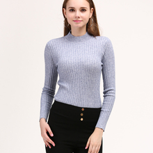 LHZSYY 2019Autumn New Women Knitted Half-High Collar Sweater Solid Color Tight Stretch Pullover Short Soft Wild Bottoming shirt