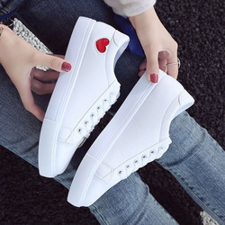 2019 Autumn Woman Shoes Fashion New Woman PU Leather Shoes Ladies Breathable Cute Heart Flats Casual Shoes White Sneakers 6