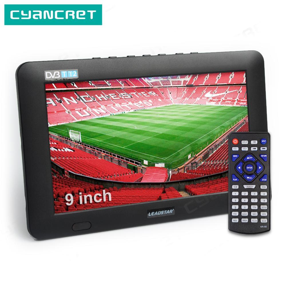 LEADSTAR 9 pouces Portable TV DVB-T2 ATSC ISDB-T tdt numérique et analogique mini petite voiture télévision prise en charge USB TF PVR MP4 H.265 AC3