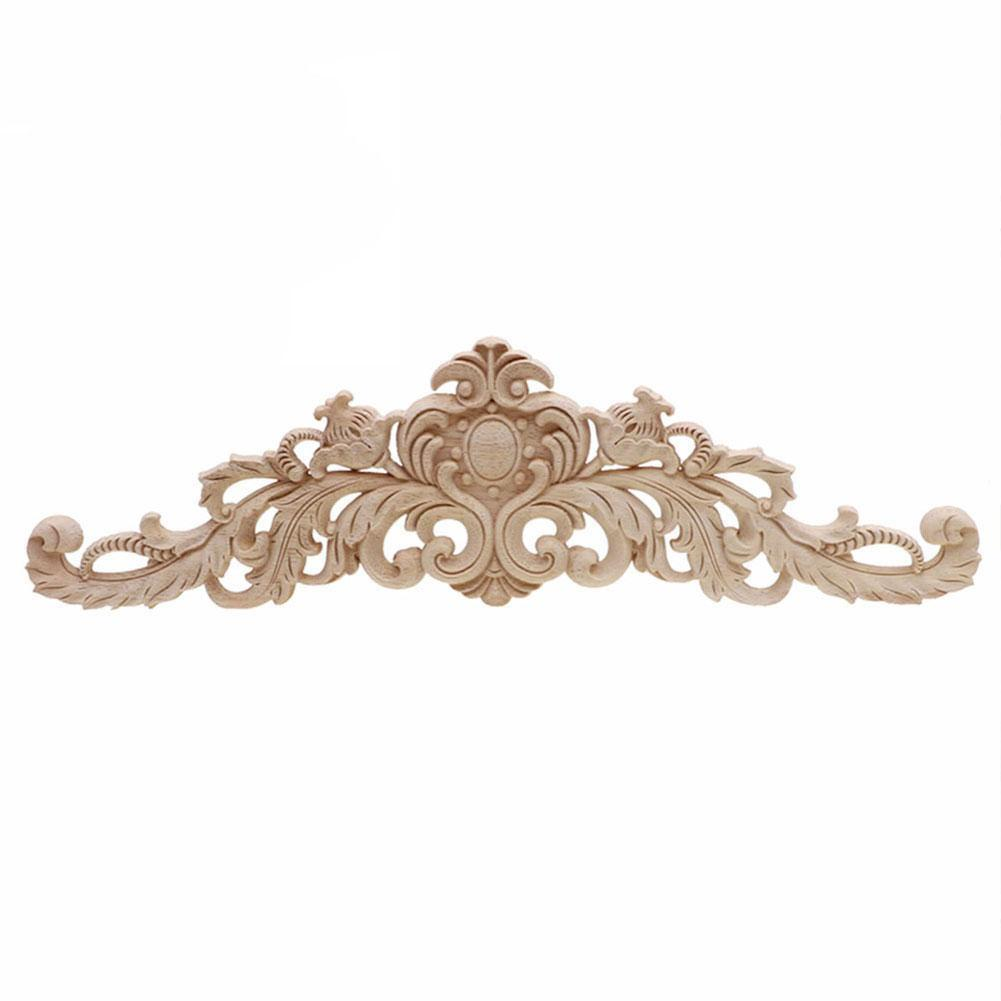 Rectangle Carving Natural Wood Appliques For Furniture Decal Unpainted Vintage Decor Mouldings Decorative Cabinet Wooden X5L1