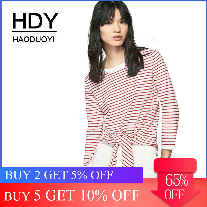 HDY HaoDuoYi Casual Leisure Loose Three Quarter Sleeves Top Regular O-Neck 2019 New Fashion Women Bow Sweater Striped Pullovers