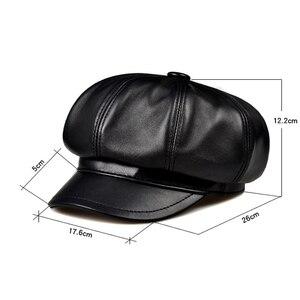 Image 3 - Prawdziwej skóry Beret kapelusz zima wiosna kapelusze dla kobiet malarz czapka gazeciarza Vintage Beret kobieta czarny Boinas styl angielski kapelusz