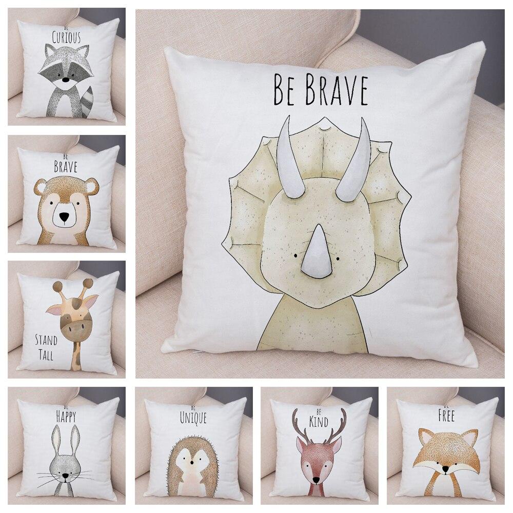 Nordic Be Brave Zebra Hippo Giraffe Pillow Case Decor Cute Animal Cushion Cover for Sofa Lion Fox Soft Plush Pillowcase 45x45cm