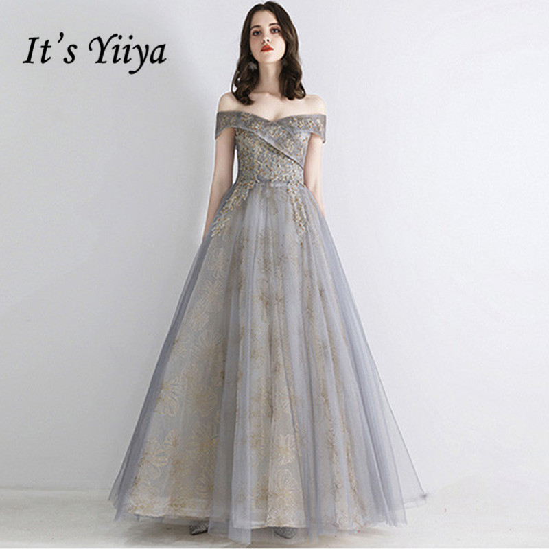 It's Yiiya Evening Dress 2019 Boat Neck Off Shoulder Ball Gowns Floral Print Elegant Party Long Formal Dresses Plus Size E1053