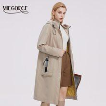 MIEGOFCE 2021 Collection primavera autunno giacca a vento con cappuccio giacca da donna Trench con tasche Patch Parka da donna impermeabile