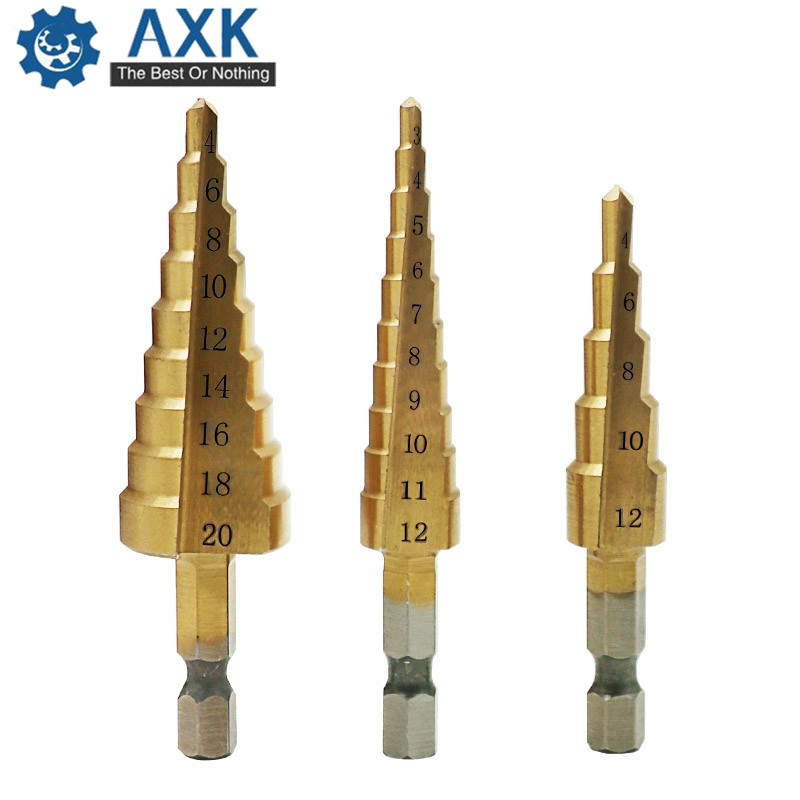 3pcs/Set Titanium Step Drill Bits HSS Power Tools High Speed Steel Hole Cutter Wood Metal Drilling 3-12mm 4-12mm 4-20mm DT171
