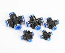 цена на 10pcs PZA 4 6 8 10 12mm Air Fitting 4-Way Cross Shaped Splitter Push in Pneumatic Tube Connector Quick Fittings