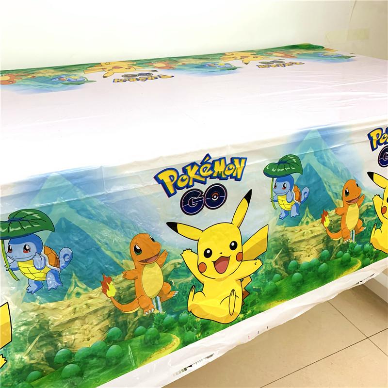 1Pcs Pokemon Go Cartoon Pikachu 108*180cm Kids Boys Birthday Party Disposable Tablecover Baby Shower Tablecloth Supplies