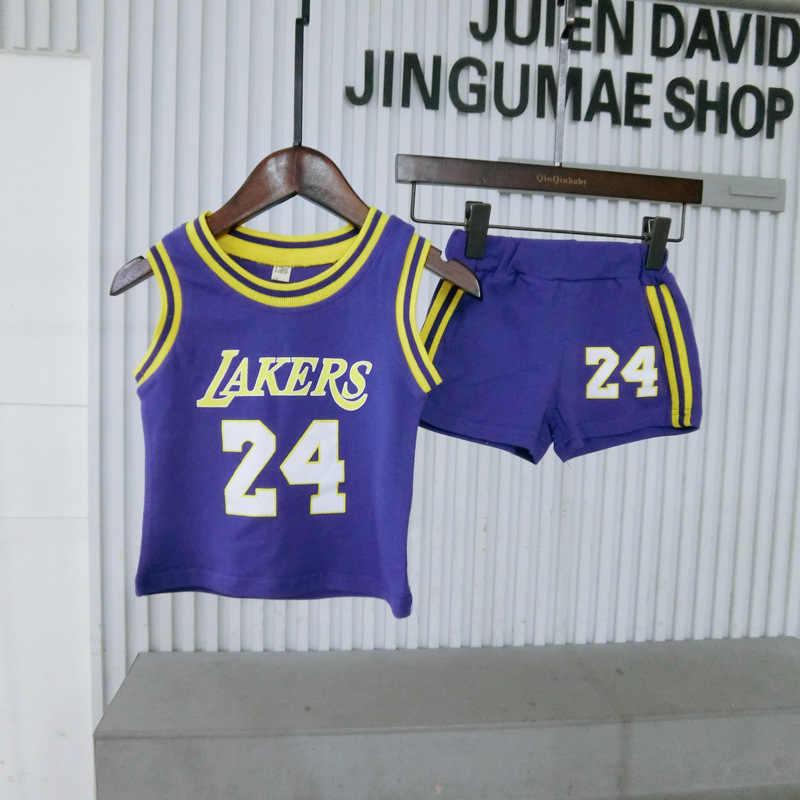 2019 صيف جديد نمط ملابس الطفل للأطفال موضة الأطفال القطن الخالص رياضية غير رسمية مع أرقام كرة السلة الصدرية البدلة