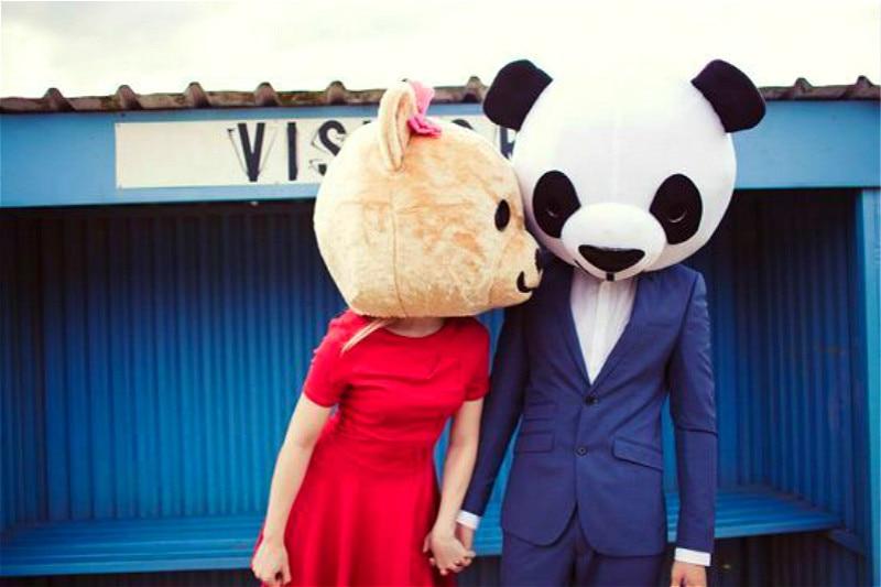 Хэллоуин любовник головы Панда и медведь маскарадный костюм нарядное платье Свадебная вечеринка реквизит взрослый Косплей наружная голов... - 2