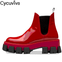 Red Patent Leather Chelsea Boots Flat Platform Women Boots Round Toe Thick Bottom Simple Fashion Ankle Boots For Women