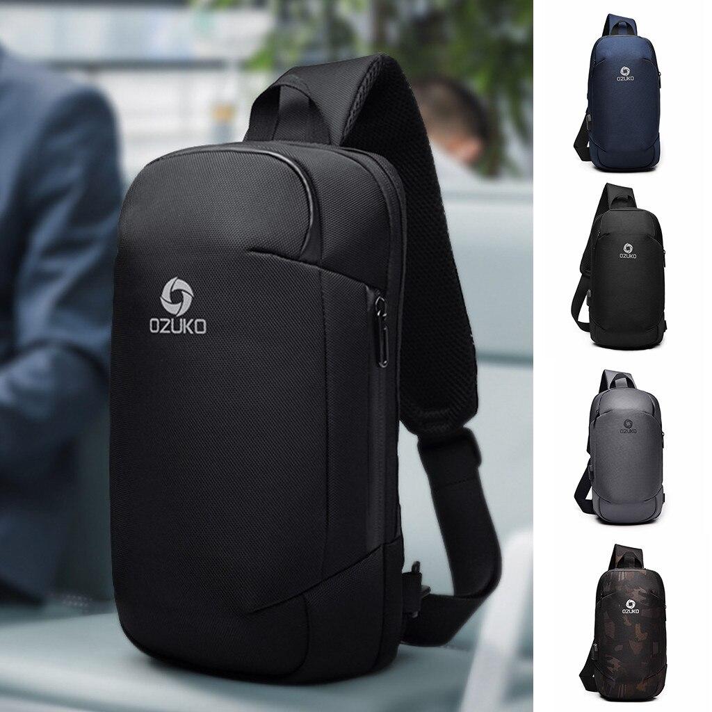 OZUKO Men's Multi-function Messenger Bag Anti-theft Waterproof Travel Chest Bag поясная сумка сумка на пояс женская #20