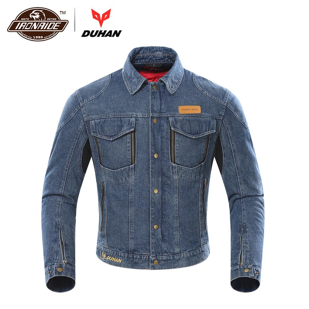DUHAN Denim Motorcycle Jacket Men Riding Jacket Chaqueta Motocross Jeans Windproof Moto Jacket Protective Gear Removable Linner