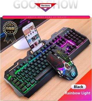 Gaming Keyboard Mouse Mechanical Feeling RGB LED Backlit Gamer Keyboards USB Wired Keyboard Computer Game Keyboard For PC Laptop 2