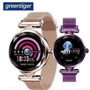 Image 1 - Greentiger ליידי אופנה H1 חכם שעון נשים Bluetooth Waterproof קצב לב צג גשש כושר Smartwatch צמיד