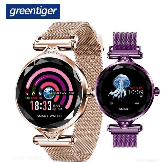 Greentiger ליידי אופנה H1 חכם שעון נשים Bluetooth Waterproof קצב לב צג גשש כושר Smartwatch צמיד