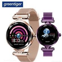 Greentiger bayan moda H1 akıllı saat kadın Bluetooth su geçirmez nabız monitörü spor izci akıllı saat kordonu