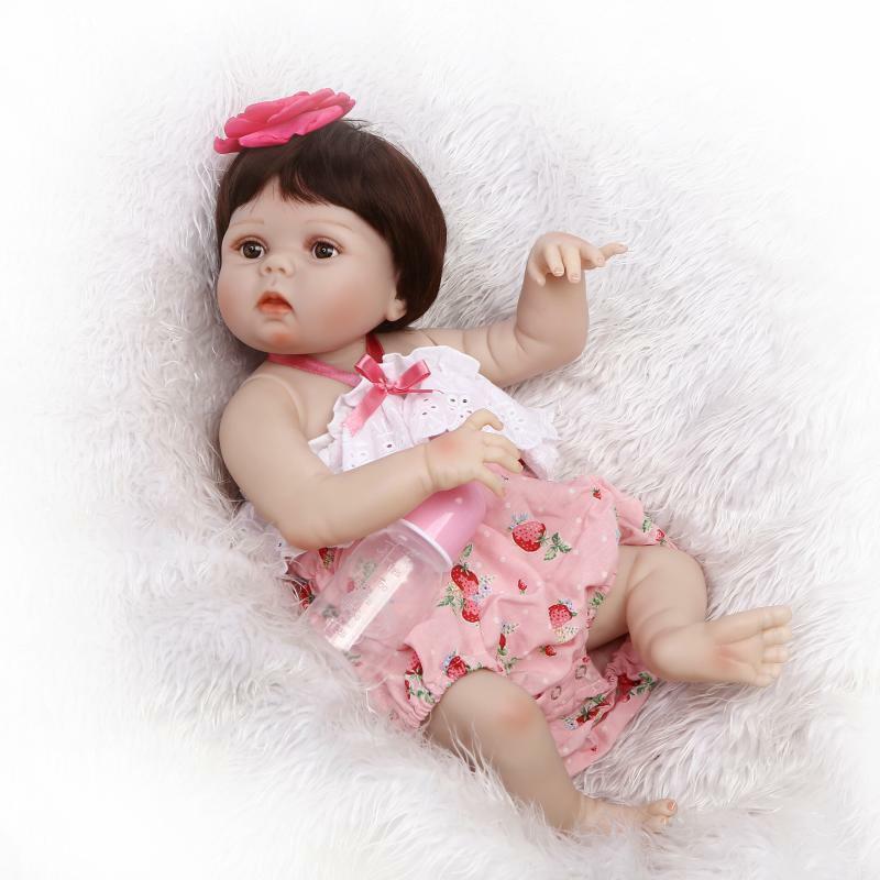 "22/"" Toddler Bebe Reborn Baby Girl Dolls Silicone Vinyl Lifelike Newborn Toy Gift"