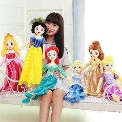 60 см принцесса Дисней Белоснежка Ариэль Рапунцель Мерида Золушка Белль Принцесса Эльза плюшевая кукла животного игрушка для детей подарок