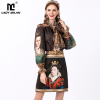 Women's Runway Twinsets Bow Collar Long Sleeves Vintage Printed Shirt with Characters Skirt Two Piece Dress Set Suits