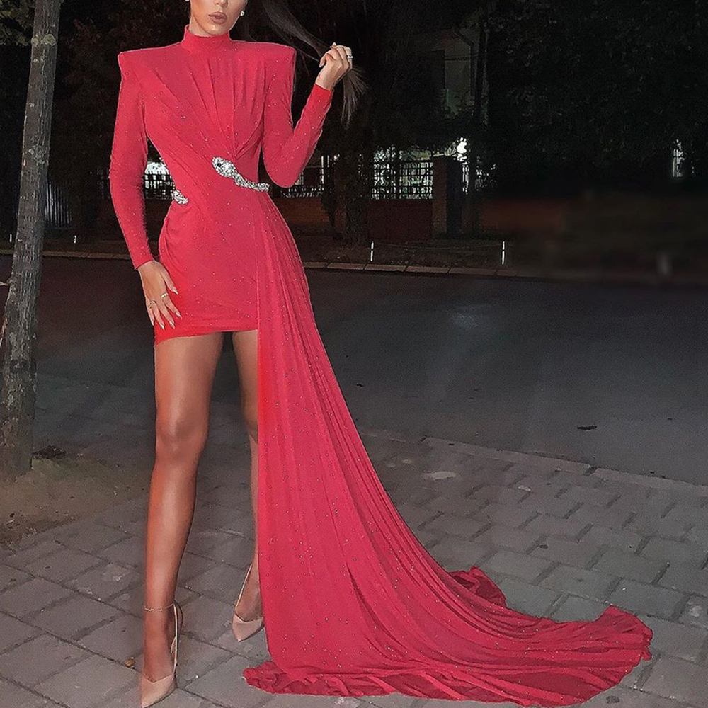 Missord 2019 Women  High Neck Long Sleeve Bodycon Long Tail Without Belt  Dresses Female Elegant Solid Color Mini Dress  FT19833