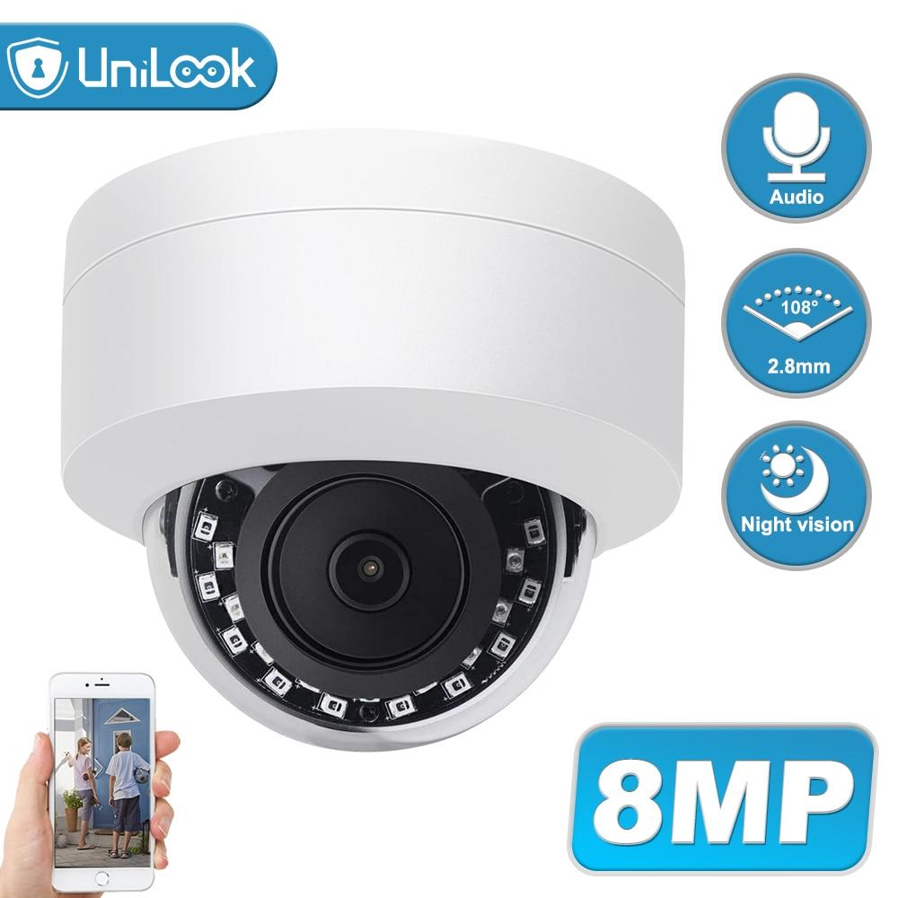 <Big SaleUniLook 4K 8MP Dome POE IP Camera Built in Microphone Hikvision Compatible CCTV Security Camera Night vision IP66 ONVIF H.265ù