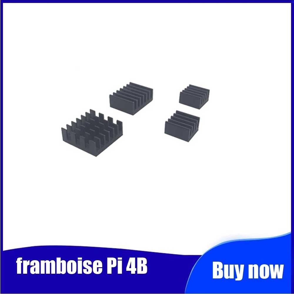 4 Pièces Pour Framboise Pi 4B Radiateur En Aluminium Radiateur Refroidisseur Kit Pour Framboise Pi 4