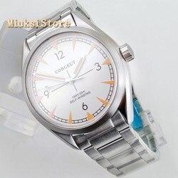 41MM Corgeut srebrny case szafirowy kryształ biały dial data świecenia automatyczne męskie top luksusowe biznes zegarek mechaniczny 2867 w Zegarki mechaniczne od Zegarki na
