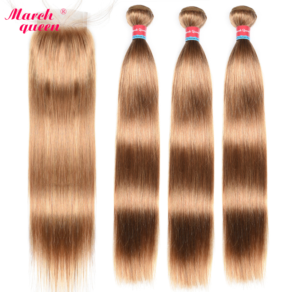 March Queen #27 Peruvian Straight Hair With Closure Honey Blonde Color Human Hair Weave 3 Bundles With 4X4 Lace Closure