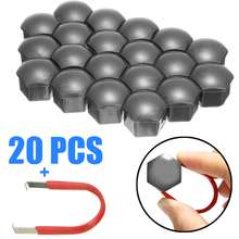 New Style 20pcs 17mm Alloy Wheel Nut Bolt Cap Cover Gray Tire Screw Bolts with Removal Tool Exterior Decoration