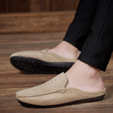 Suede Leather Loafers Summer Male Moccasins Half Shoes for Men Casual Soft Masculino Breathable Mens Slipper Flats