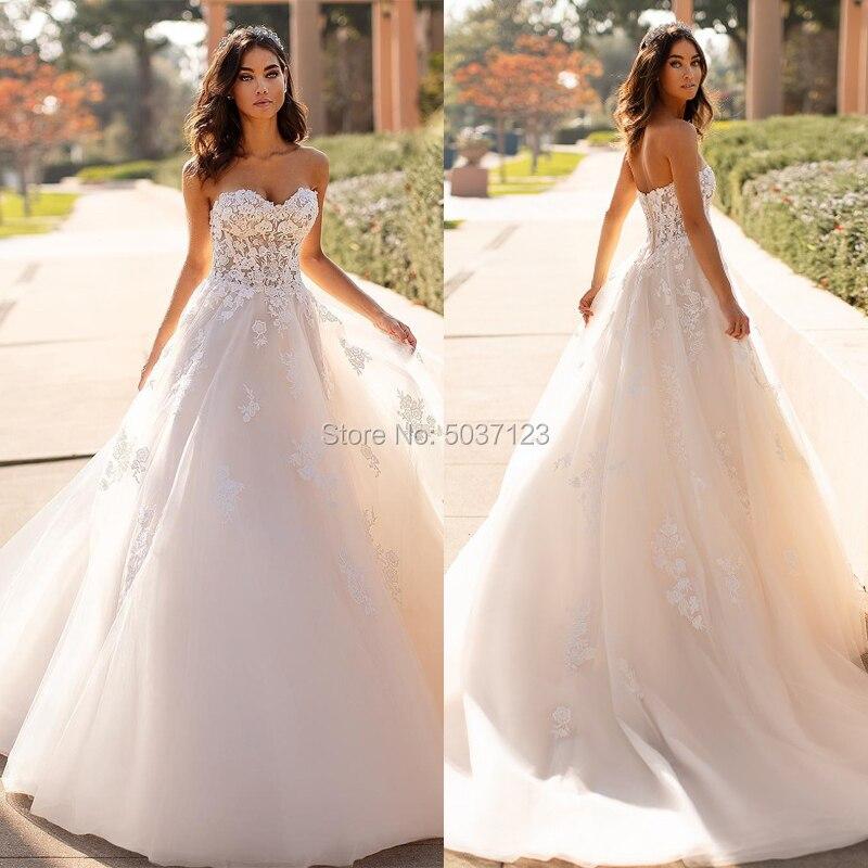 A Line Wedding Dresses Strapless Sweetheart Lace Appliques Bridal Wedding Gown Vestido De Noiva Zipper Sweep Train