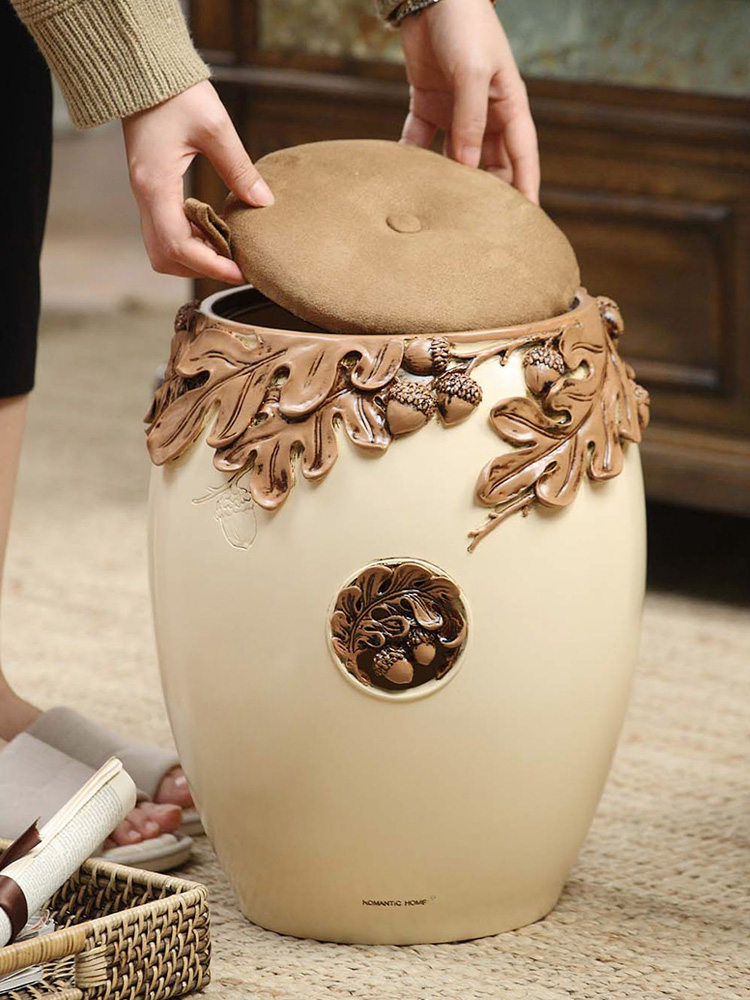 39cm Retro Carving Pine Cone Leaves 3D Pattern Storage Box Stools Chair Lounge Seat Footstools Bedroom Living Room Furniture