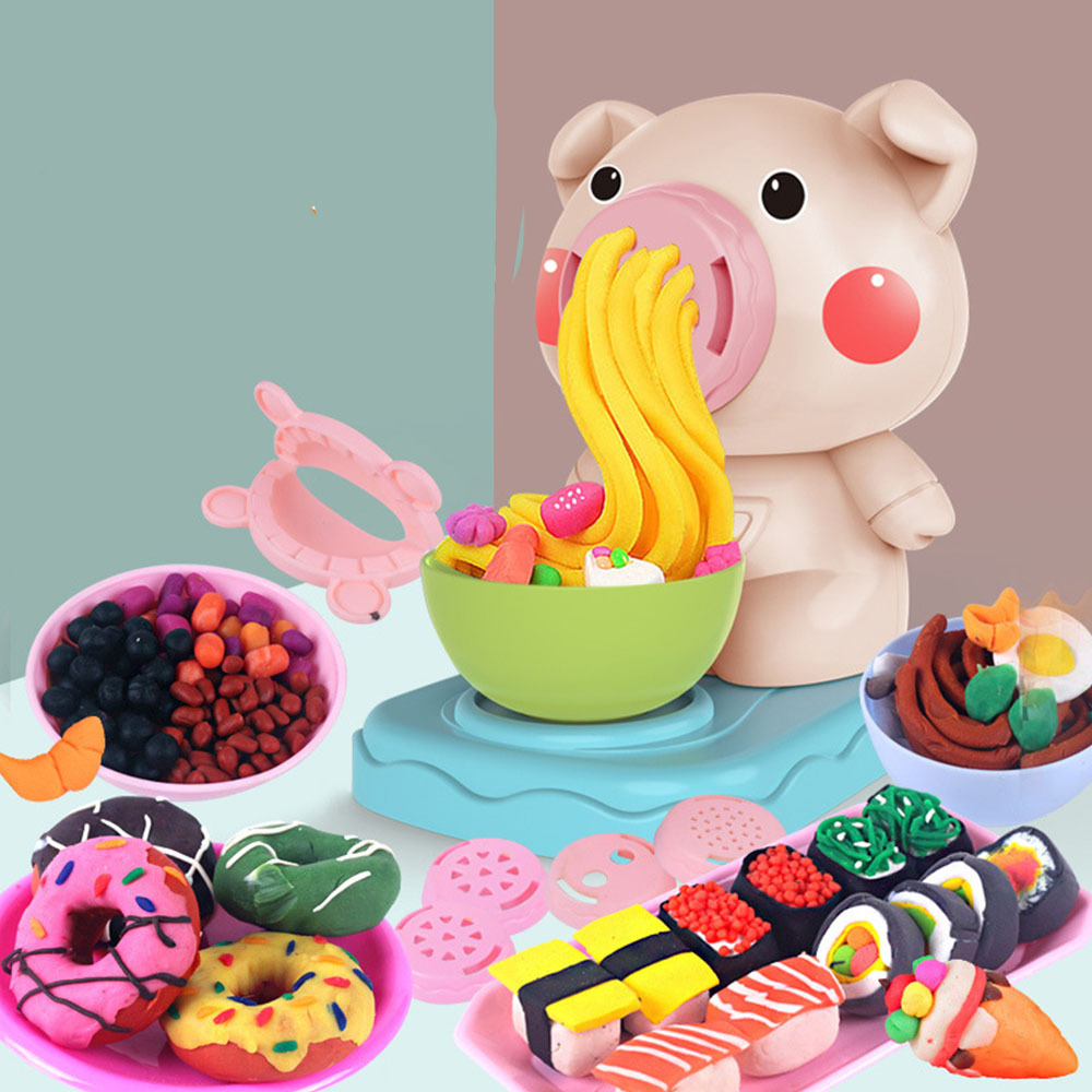 2019 1 Set Kids Kitchen Toys DIY Noodles Machine Game Playdough Clay Dough Plasticine Ice Cream Machine And Small Pig Mould Prop