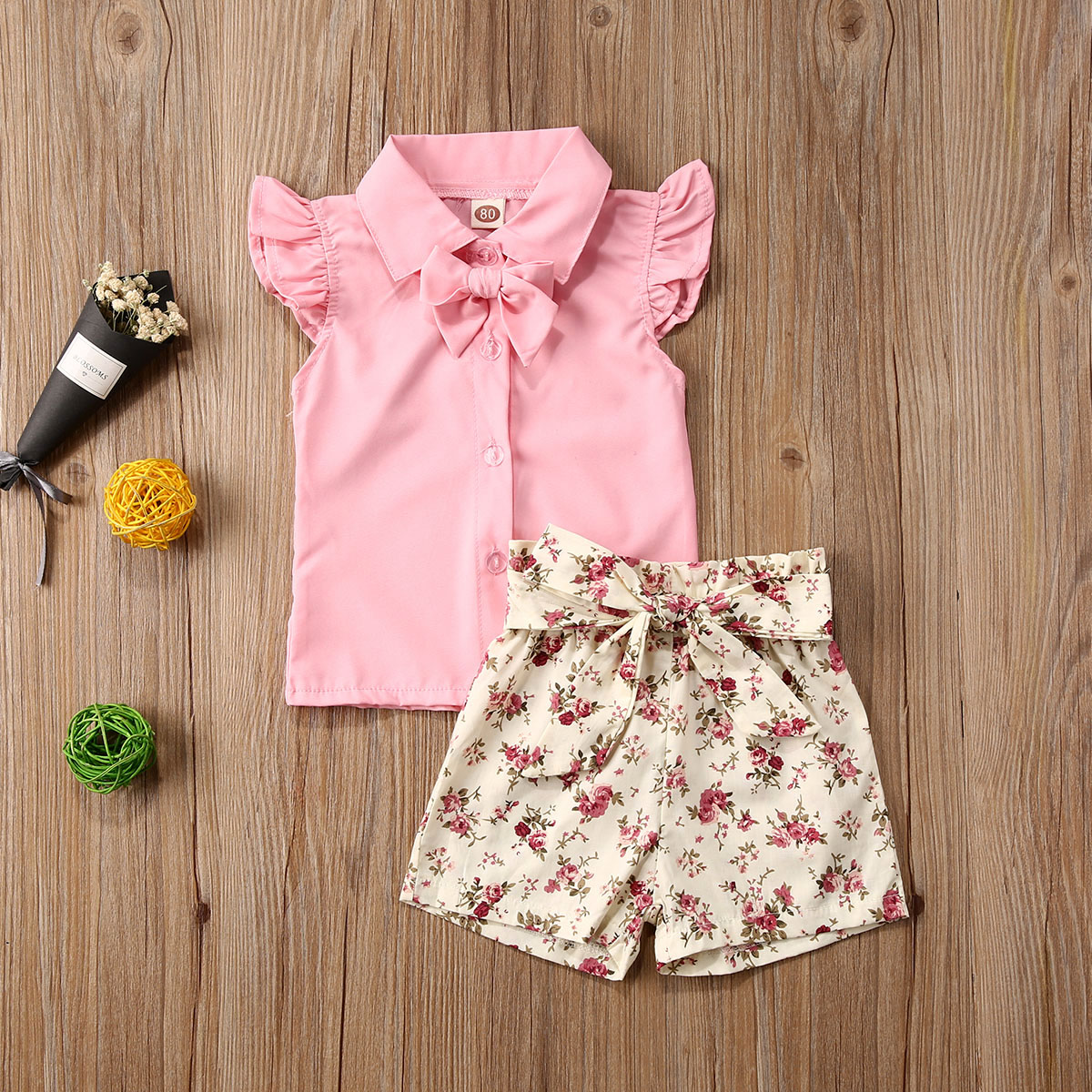 Pudcoco Toddler Baby Girl Clothes Solid Color Sleeveless Shirt Tops Flower Print Short Pants 2Pcs Outfits Cotton Sunsuit Set