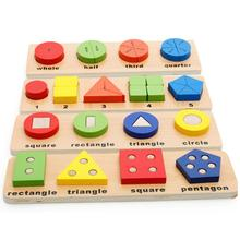 Wooden Geometric Math Fraction Puzzle Pairing Stacker Game Educational Kids Toy