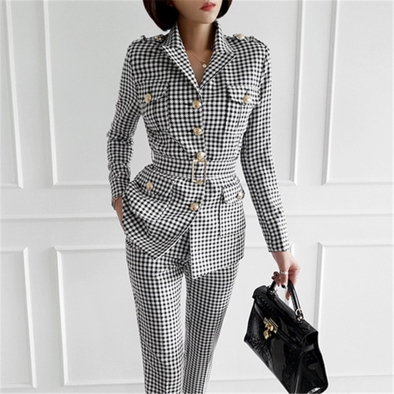 Fashion Office Ladies Plaid Suit Slim Fit  Autumn Winter New 2 Pcs Blazer Suits Vintage Business Work Outfits Ensemble Femme