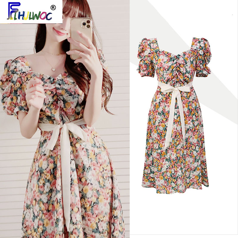 Cute Birthdays Party Dress Beautiful Design Women Flhjlwoc Ribbon Bow Tie Floral Printed Korea Draped Retro Vintage Chic Dress