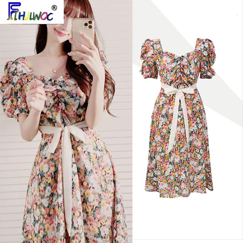 Cute Birthdays Party Dress Beautiful Design Women Flhjlwoc Ribbon Bow Tie Floral Printed Korea Draped Retro Vintage Chic Dress