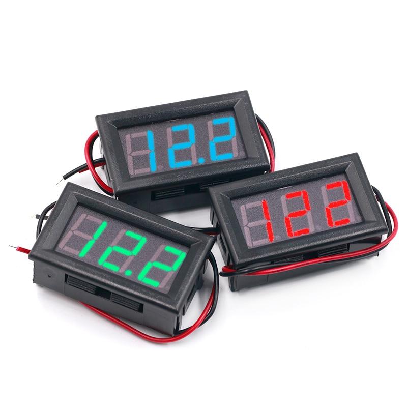 DC 3.6-50V Two Wire Precision Digital Voltmeter Black Shell Red Indicator Alarm