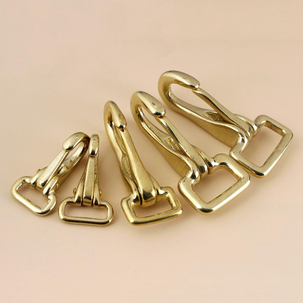 Solid Brass Halter Snap Hook Bag Clasp Dog Collar Pet Leash Rope Strap Webbing Clip Leather accessory