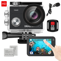 Dragon Touch 4K Action Camera Vista 5 WiFi Waterproof Sport Camera with Touch Screen 2 Batteries and Mounting Accessories Kit