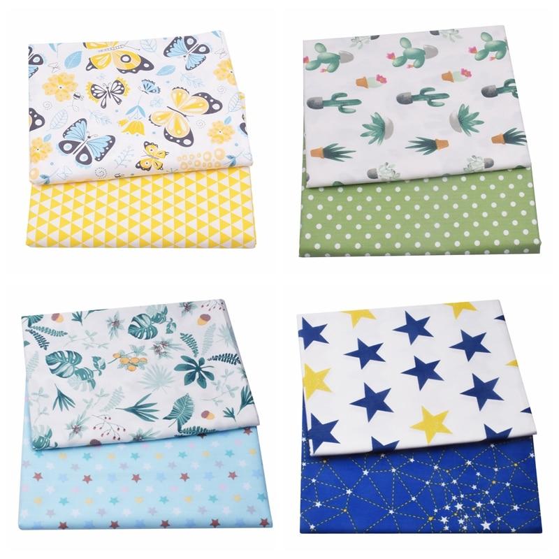 2 pezzi di tessuto floreale 100% cotone farfalla per bambini, cucito trapuntatura quarti di grasso bambino fai da te Patchwork tessuto di natale