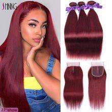 色 99J ブラジルバーガンディバンドルと閉鎖ストレート赤人毛 3 バンドルと閉鎖シャイニングスターの remy 毛は織物