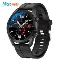 Microwear-reloj inteligente L19 para hombre, pulsera compatible con Bluetooth, llamadas, ECG, PPG, IP68, resistente al agua, rastreador de Fitness VS L15, L16, GTS, 2021