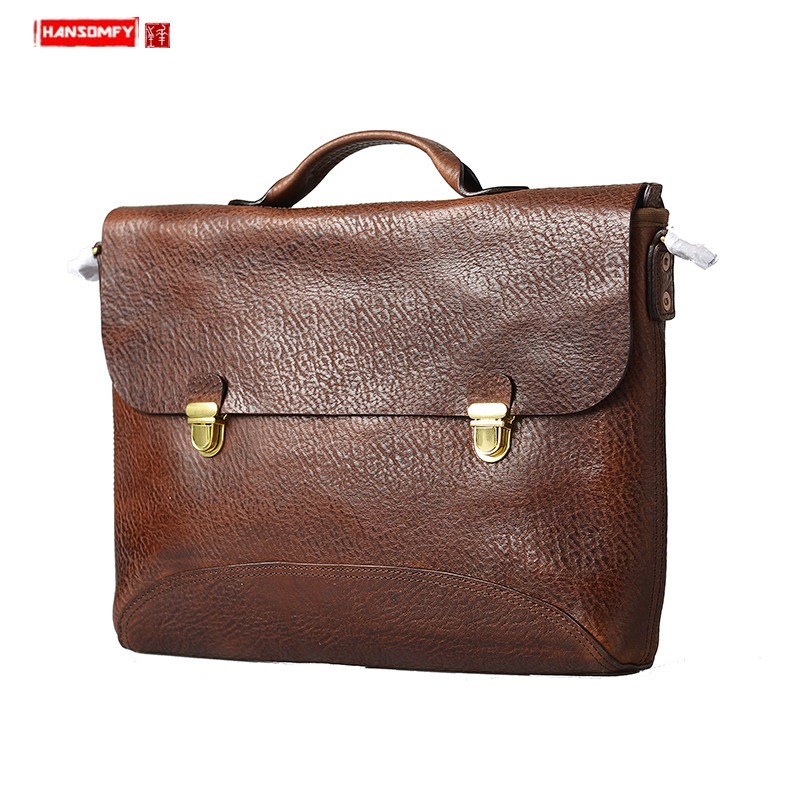 New Handmade Leather Men Handbags Casual OL Laptop Briefcase Retro Leather Computer Bag Male Buckle Shoulder Messenger Bags