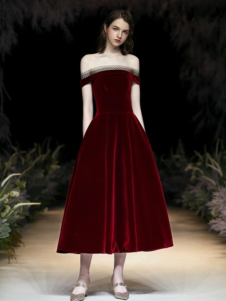 New Evening Dress Burgundy Mid-Length Sexy Off-The-Shoulder Graduation Ceremony Dress Fashion Party Dress Elegant Prom Gown WAYJ
