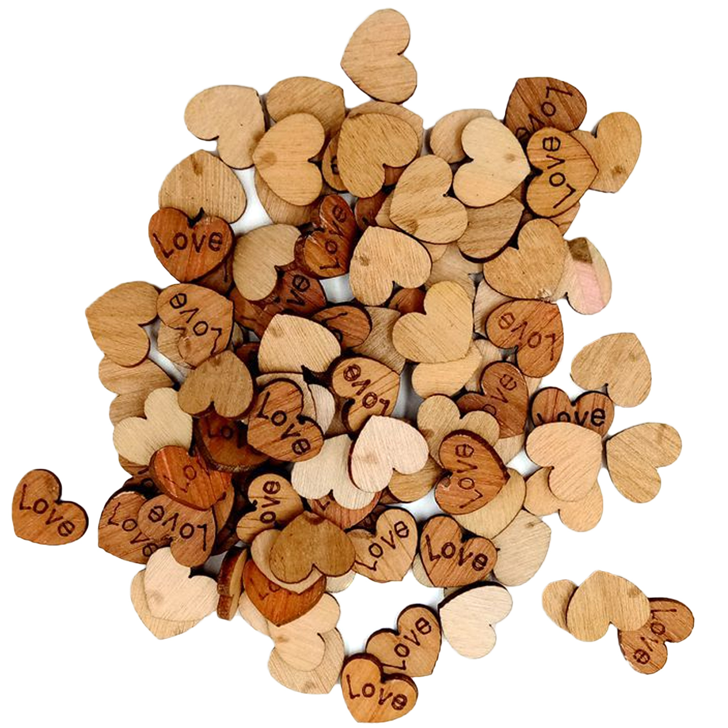 300pcs DIY Mini Rustic Wooden Love Hearts Shaped Wood Slices Confetti Button Handmade Craft Wedding Party Decoration Toy